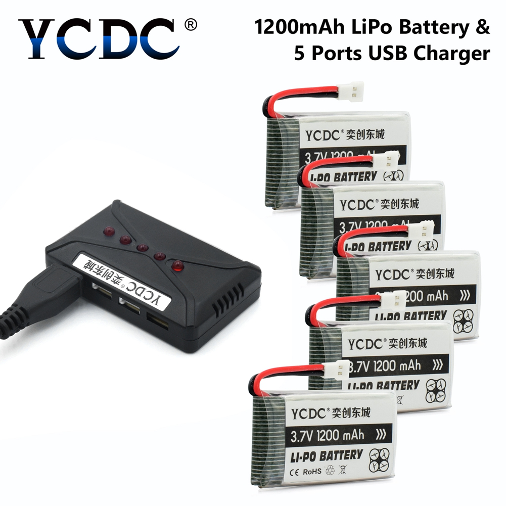 Drone Batteries 3.7V 1200mAh Li-Po Battery 1S Spare Extra For SYMA X5SC X5SW Quadcopter + Charger for Outdoor Recording