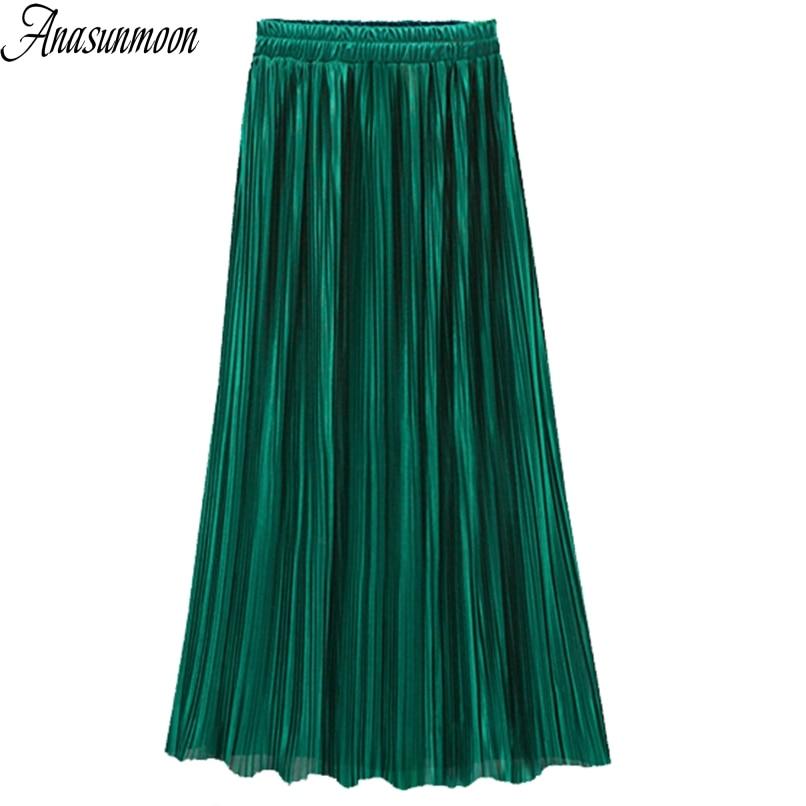 Anasunmoon Midi Skirt Elasticity Party Black Vintage High-Waist Clothing Autumn Green-Color