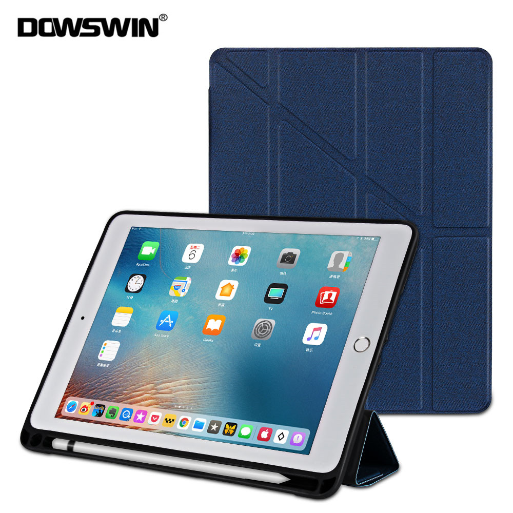 все цены на Case For iPad 9.7 2017 Smart Cover For New iPad 9.7 2018 PU Leather Case Soft Cover Magnetic Multi-Fold Stand With Pencil Holder онлайн