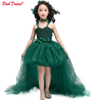POSH DREAM Teal Green Vintage Kids Girls Tutu Dresses for Forest Party Flower Dark Green Handmade Children Birthday Clothes