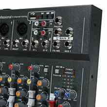 LEORY Professional 4 Channel Karaoke Audio Mixer Amplifier Mini Microphone Sound Mixing Console With USB 48V Phantom Power