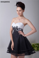 White and Black Elegant Mini Cocktail Dresses Above Knee Cocktail Dress Beading Sequined Lace Formal Party Gown vestido cocktail