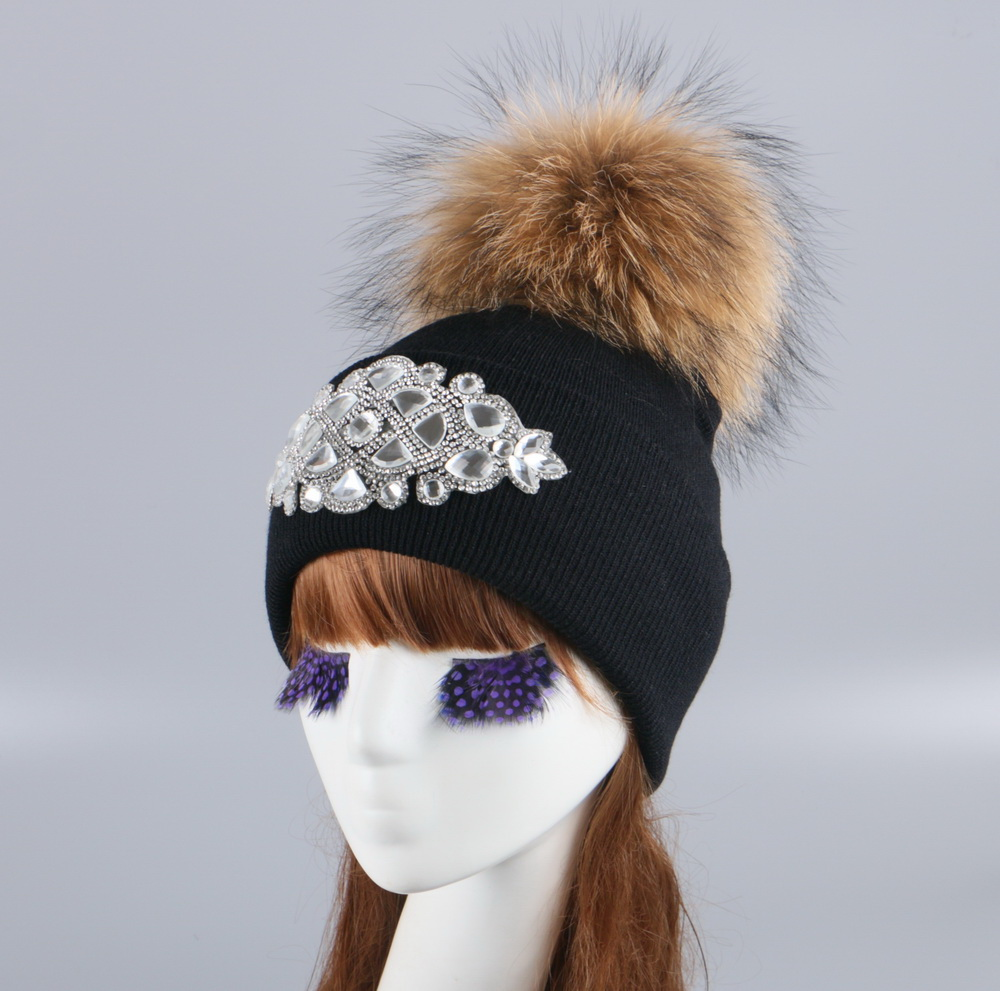 girl women brand winter beanie hat cap with real animal fur pompom mink fox large ball crystal floral knitted gorros skullies 10cm real fox fur ball keychain on the keys fluffy real fur pompom car for couples fur ball key chains fur cap beanie
