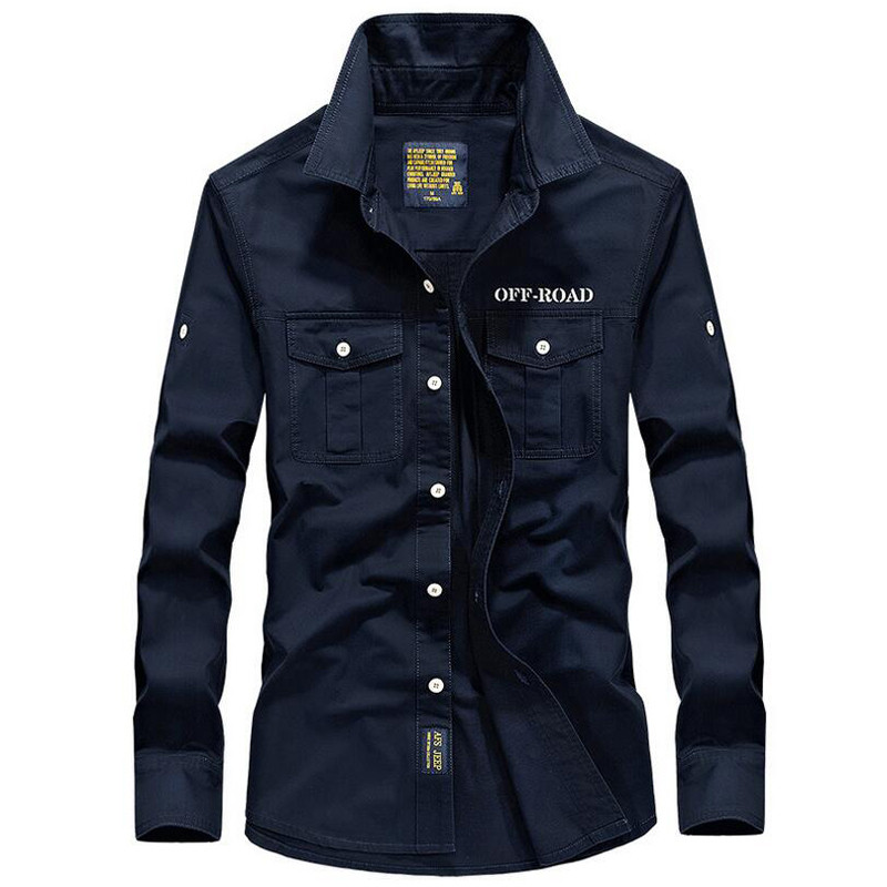 SRTM Brand Men Casual Shirt Military Cotton Shirts Autumn Long Sleeve Slim Fit Mens Solid Color Plus Tops Size S-4XL