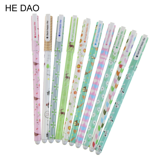 10 Pcs Fresh Style Kawaii Animal Print Gel Ink Pen Promotional Gift  Stationery School Office Supply