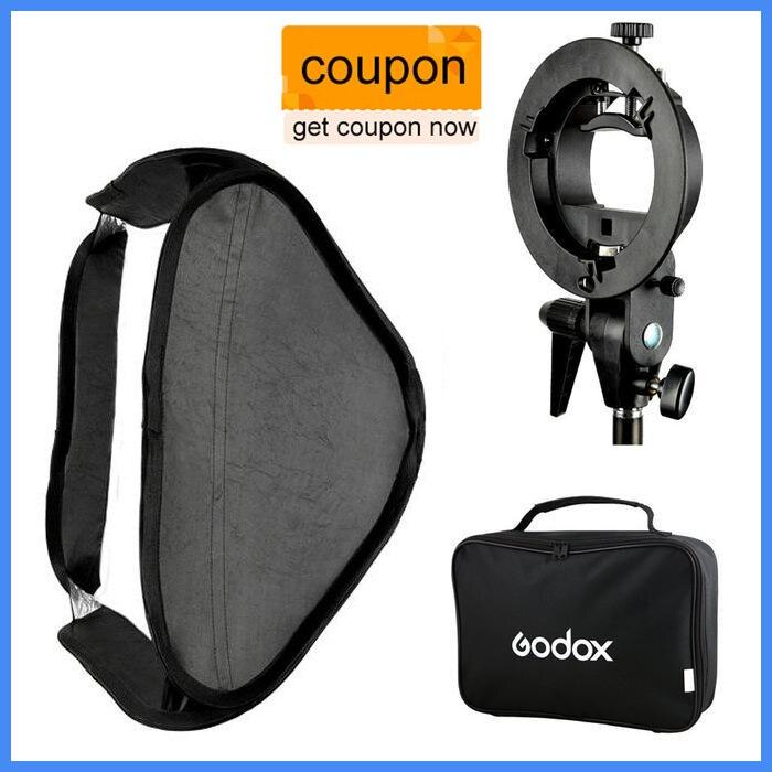 Prix pour Godox s-type speedlite support bowens mount holder + 80x80 cm softbox pour studio photographie
