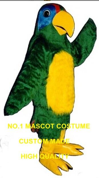 Попугай птица талисмана Взрослый размер длинные плюшевые Зеленый попугай Ара тему аниме маскарадные костюмы Карнавальный нарядное платье