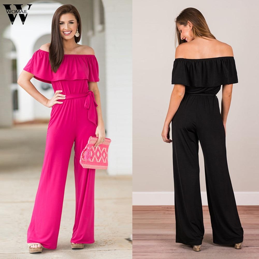 Womail Bodysuit Women Summer Casual Solid Off The Shoulder Jumpsuit Ruffle Clubwear Wide Leg Jumpsuit Fashion Romper2019 M524