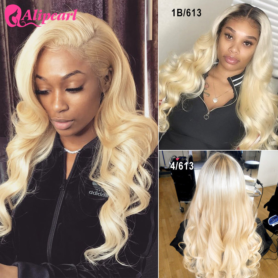Body Wave Blond Full Lace Human Hair Wigs For Black Women Pre Plucked Colored Human Hair Wigs AliPearl Hair Brazilian Wigs