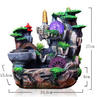 Resin Water Fountain Feng Shui Ornament Artificial Aromatherapy RS903 Desktop Indoor Air Humidifier Home Christmas Decoration
