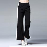 Womens Casual Long Slim Wide Leg Pants Loose Fashion Black White Panelled Elastic Waist Trousers Plus