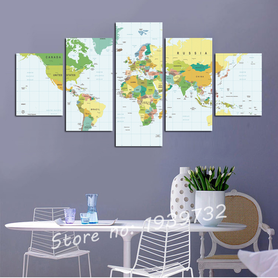 5 pcs Vintage World Map picture Print On Canvas Home Decor Art Wall ...