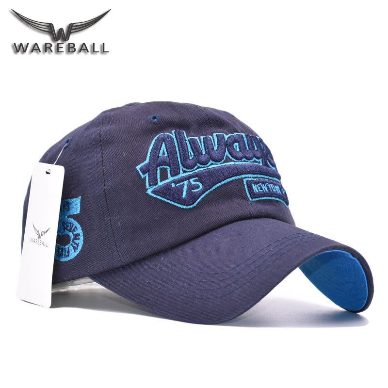 WAREBALL New Hot Fashion Brand Cotton Mens Hat Letter Bat Unisex Women Men Hats Baseball Cap Snapback Casual Caps kvp 24200 td 24v 200w triac dimmable constant voltage led driver ac90 130v ac170 265v input