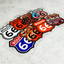 GalonDeco Route 66 Road Car Reflective Sheild Sticker Color Safety Decals Motorcycle MTB