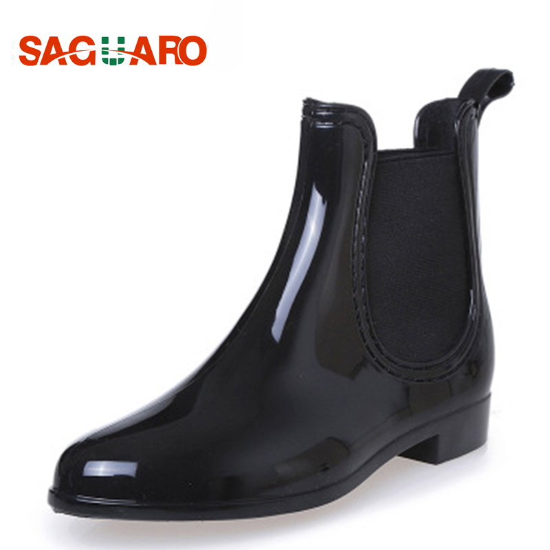 SAGUARO 2019 New Rubber Boots For Women PVC Ankle Rain Boots Waterproof Trendy Jelly Women Boot Elastic Band Rainy Shoes Woman