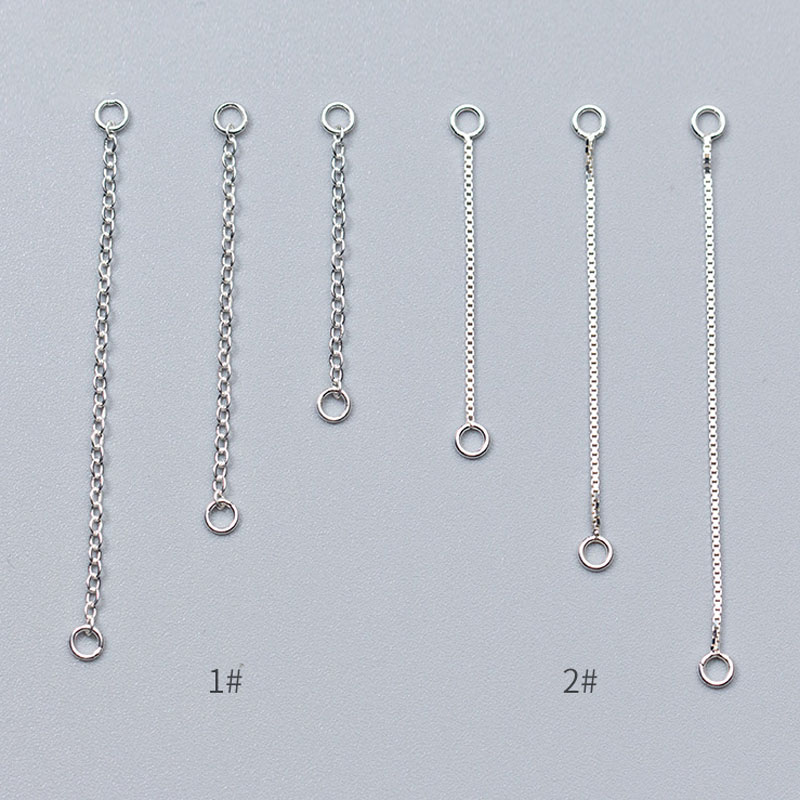 2pcs/lot 100% 925 Sterling Silver Earring Line Connector Chains 3cm 4cm 5cm Length Dangle Ear Extension Chains DIY Jewelry Make