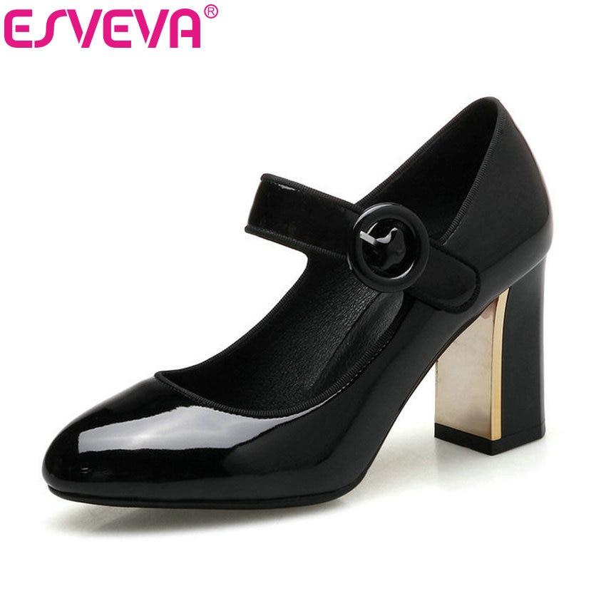 ESVEVA 2017 Women Pumps Square High Heel OL Shoes Round Toe Spring Autumn Shoes Buckle Patent Leather Fashion Pumps Size 34-40