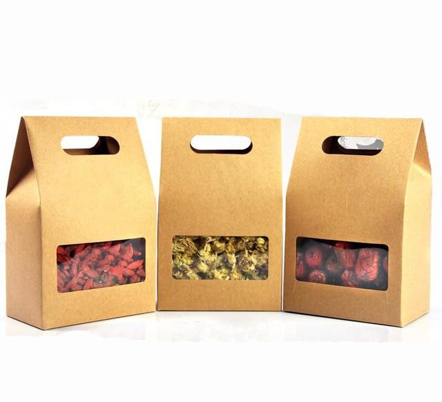 31f13c712 10x15 cm papel Kraft bolsa de envasado de alimentos con ventana y manejar,  para hornear
