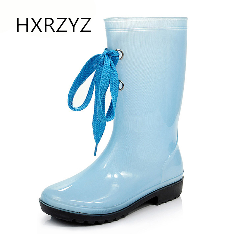 HXRZYZ Women rain boots Slip-Resistant rubber ankle boots spring/autumn new fashion lace-up jelly waterproof shoes women new spring autumn rain boot woman ankle boots sexy women rain boots