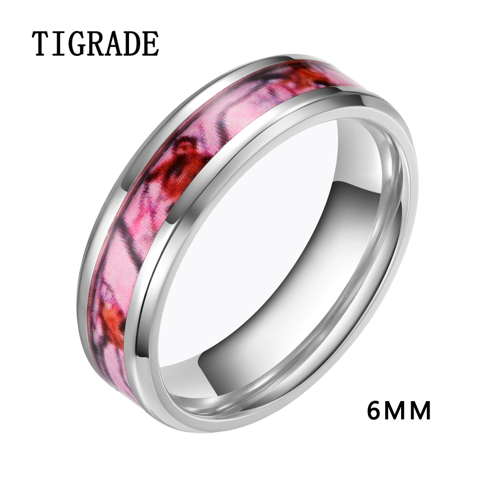 female 6mm 8mm pink titanium ring set camo inlay wedding band silver edges engagement rings for - Cheap Camo Wedding Rings