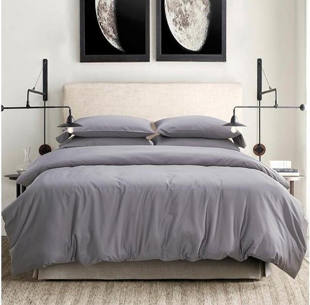 Light Grey Gray 100 Egyptian Cotton Bedding Set King Queen Size Sheet Quilt Duvet Cover