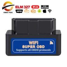 2019 elm327 v1.5 OBD2 Wifi 진단 도구 슈퍼 미니 elm 327 블루투스 V2.1 Andriod/IOS/Windows 용 토크에서 작동