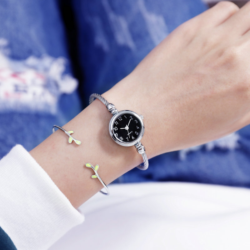 Lady Bangle Quartz Wristwatch Small And Exquisite Women Students Bracelet Thin Wrist Watches For Female Clock Slender Bangle