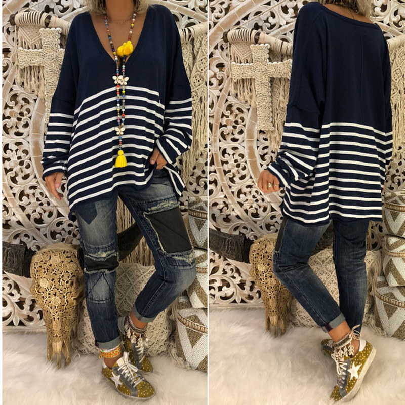 2019 New Women Top Autumn Print Striped V neck Long Sleeve Blouse Knitwear Streetwear Women Shirts Womens Tops and Blouses Modis in Blouses amp Shirts from Women 39 s Clothing
