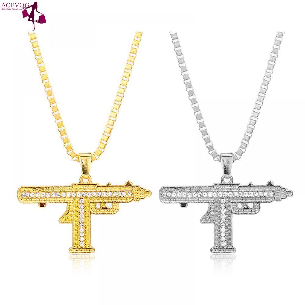 ACEVOG Necklace Uzi Sub Color Fashion Hop-10 for Necklaces Silver Men Jewelry Gold Hop Pendants Choker Out Pendant Uzi Gun