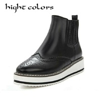 Fashion British Bullock Style Women Ankle Boots High Quality Round Toe Flat Chelsea Boots Oxford Brogues