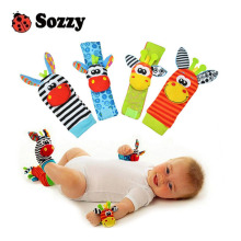 Sozzy hot Baby toy socks Baby Toys Gift Plush Garden Bug Wrist Rattle 4 Styles Educational Toys cute bright color(China)