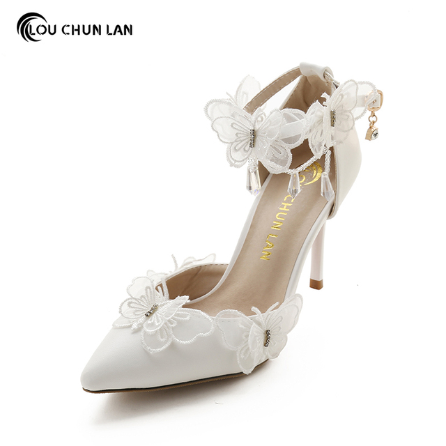 Wedding Shoes White Lace Butterfly Crystal Pendant Bridal Pointed Toe Ultra Thin Heels High