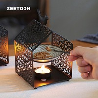 Romantic House Shaped Incense Burner Metal Iron Art Black Candlestick Candle Essential Oil Heater/ Night Light Lamp Decor Crafts