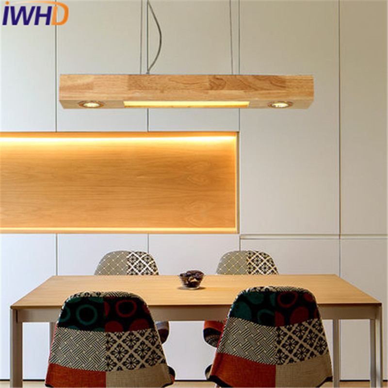 Loft Decor Rectangle Wood Droplight Nordic Modern LED Pendant Light For Dining Room Hanging Lamp Home Indoor Lighting Fixtures