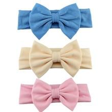 3 шт./компл. сплошной бантами для детей, повязка на голову, повязка для малышей из хлопка с бантом Haarband для маленьких девочек повязка на голову из хлопка Детская повязка на голову для девочек; аксессуары для волос