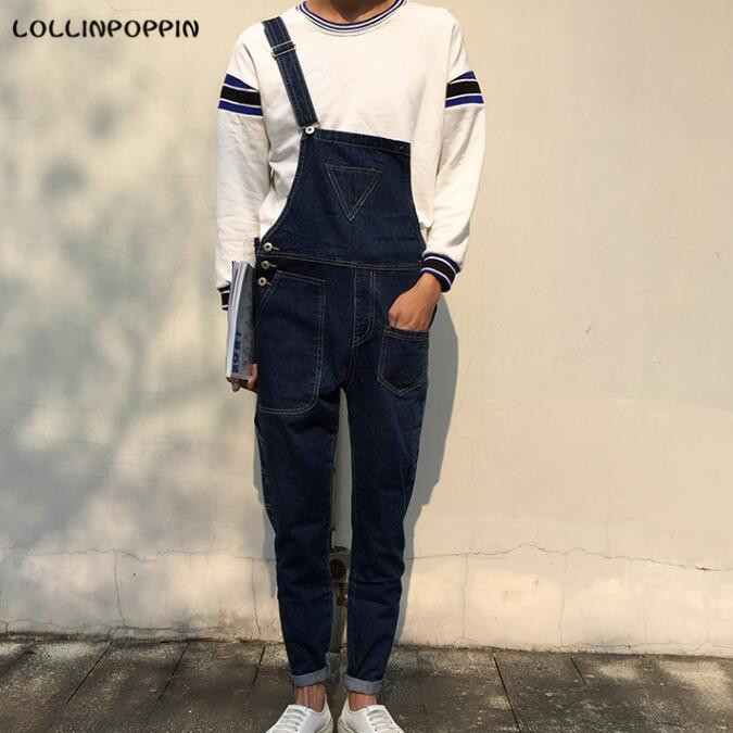 Mens Deep Blue Denim Overalls Inverted Triangle Embellished Male Bib Jeans Side Button Overalls Jeans With Suspenders denim overalls male suspenders front pockets men s ripped jeans casual hole blue bib jeans boyfriend jeans jumpsuit or04