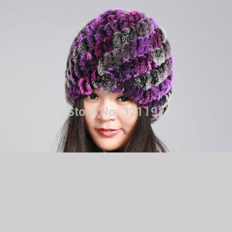 Female Autumn 100% Rabbit Fur   Skullies     Beanies   Hats Women Winter Stretch Double-deck Warm Knitted Hats Lady Protect Ears