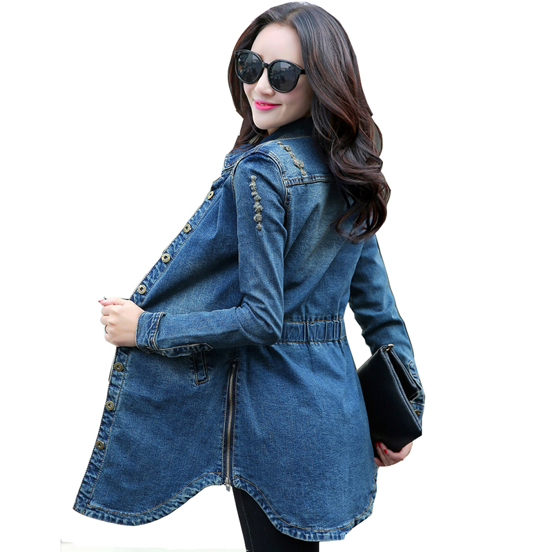 Women Denim Jacket Vintage 2019 atumn Woman Casual Washed Jean Jacket Slim Jean Coat Outwear Female long sleeve Clothing QH1156