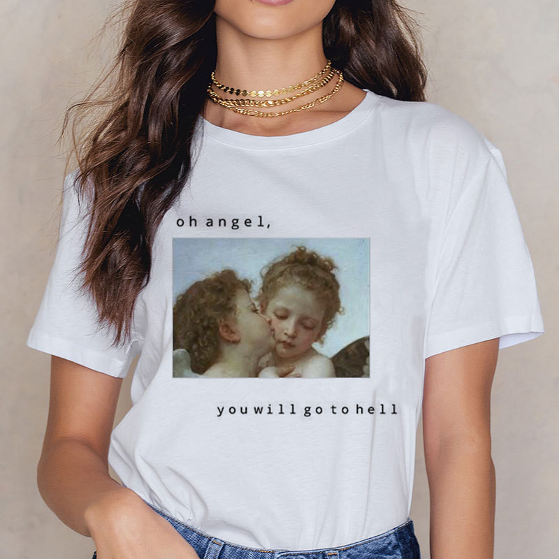 Angel 90s Fashion T Shirt Women Kawaii Print Short Sleeved O-neck T-shirt Vintage Vogue Ullzang Tshirt Harajuku Top Tees Female 12