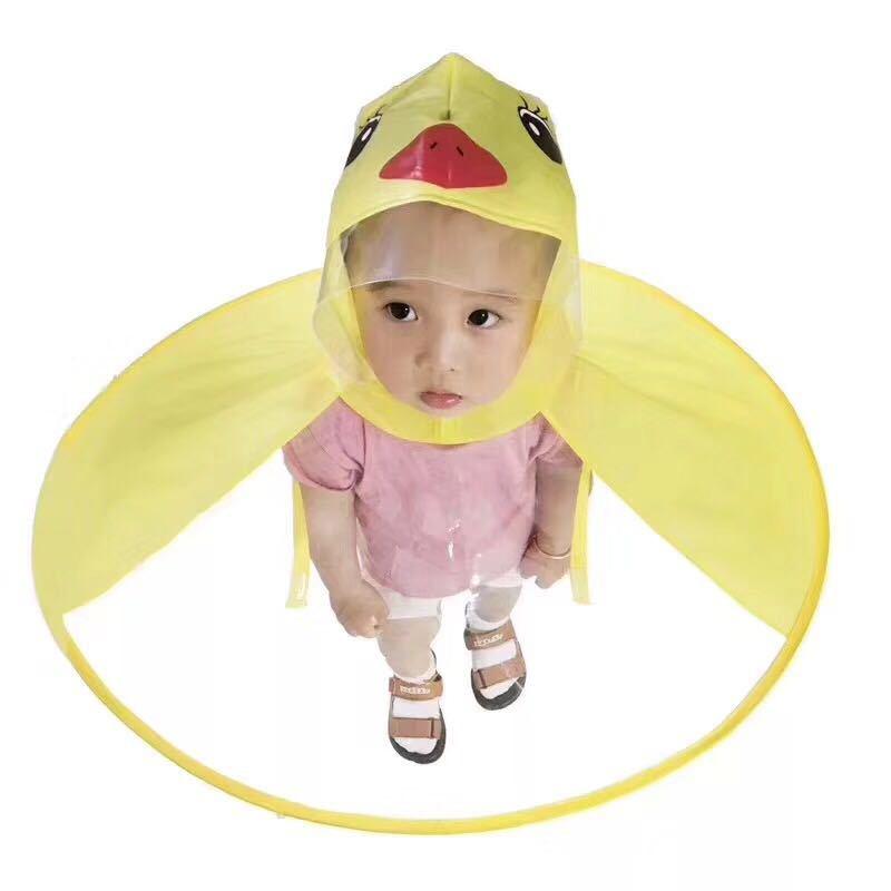 Kids Yellow Duck  Rain Coat kids UFO Cap Umbrella Automatic Folding Umbrella Children Hat Creative Raincoat Student Woman