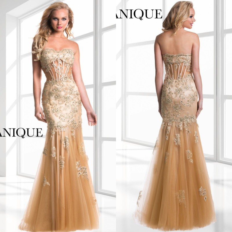 2017 Stunning Gold Prom Dresses Sweetheart Floor Length Lace ...
