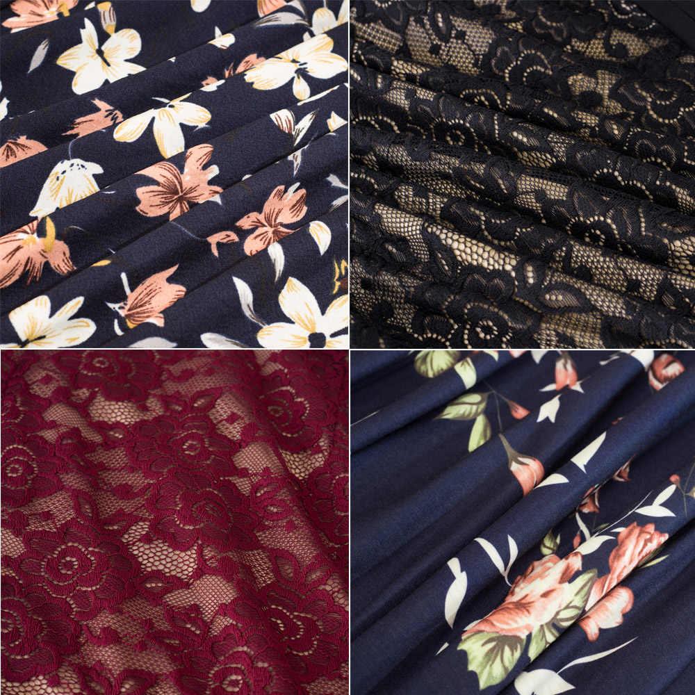 Женское винтажное деловое платье Nice-forever, элегантное, лоскутное и расширяющееся книзу платье-колокол разных цветов с прозрачными рукавами, цветочными кружевами и оборками,A062