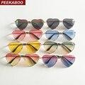 Peekaboo de marco de metal en forma de corazón de gafas de sol de las mujeres corazón claro fiesta gafas de sol para las mujeres, rosa amarillo uv400