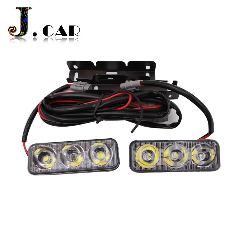 High Power 2Pcs/Set 6 Led 9W Universal Car Light Source Waterproof DC12V DRL Daytime Running Light Auto Lamp White Free Shipping
