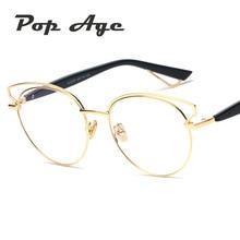Pop Age Vintage Fashion Eyeglasses Frames High quality Cat Eye Metal glasses Alloy Clear lens Optical Luxury Lunettes