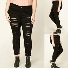 332a27b2288cb NOUVEAU Femmes Lady Affligé Trou Lumière Noir Déchiré Jeans Élastique Jeans  Denim Pantalon