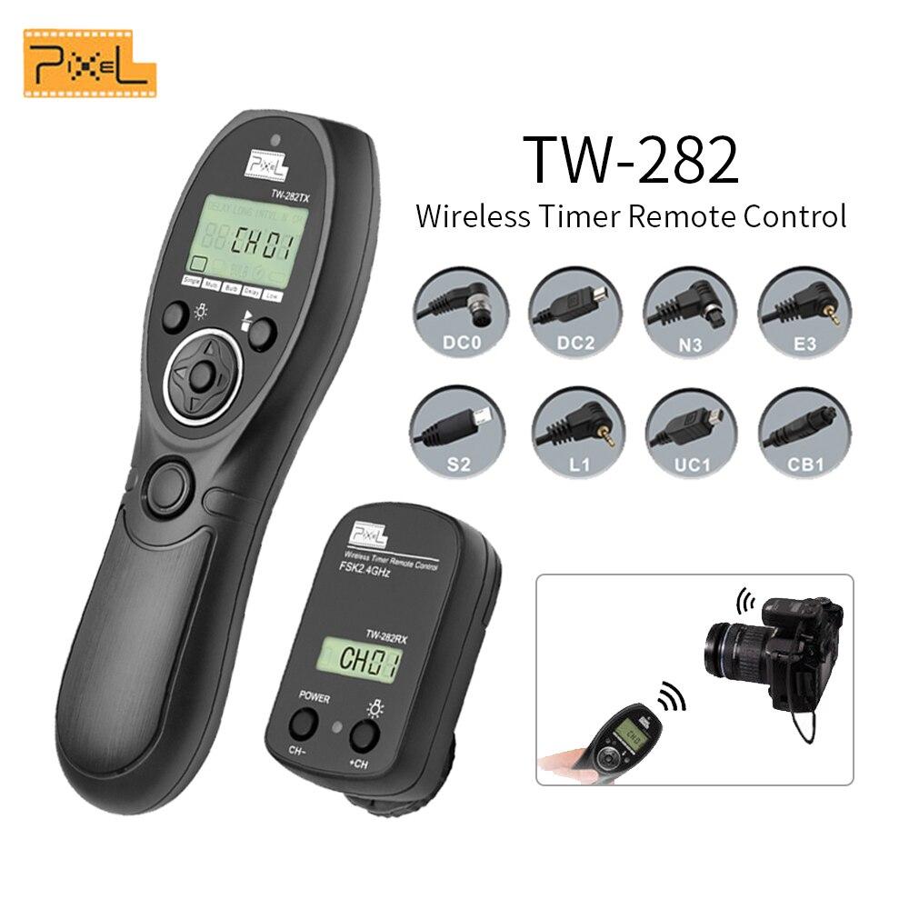Pixel TW-282 2.4G sans fil minuterie télécommande déclencheur pour Canon Nikon Sony OLYMPUS PANASONIC DSLR appareils photo VS TW-283 T8
