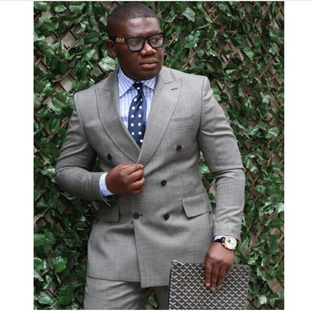 Latest Coat Pant Designs Grey Double Breasted Men Suits 2019 Custom