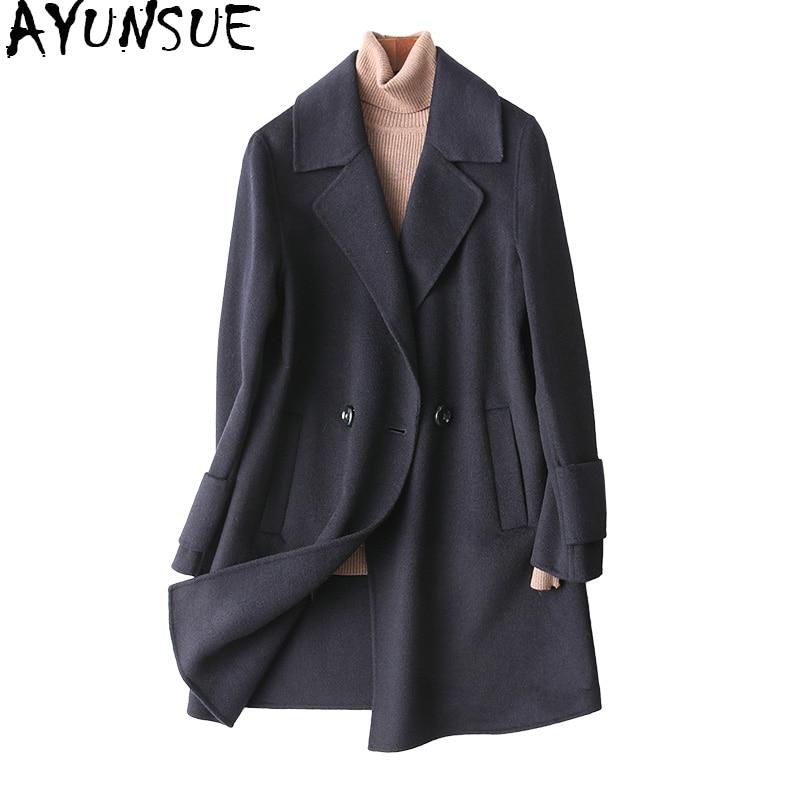 Здесь продается  AYUNSUE 2018 Casual 100% Wool Coat Female Double Side Cashmere Coat Women Medium Long Women