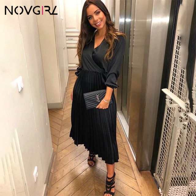 Novgirl Elegant Fit And Flare Pleated Satin Dress Women 2019 Summer Autumn Off Shoulder Long Sleeve Ladies Casual Green Vestidos